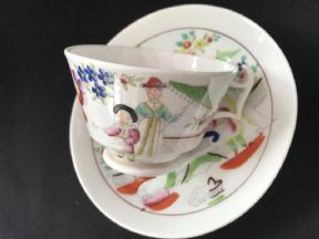 HILDITCH 'Lady with lyre'  London shape cup & saucer (2) (3)